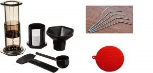 Aeropress Coffee And Espresso Maker With Straws And Red Cap