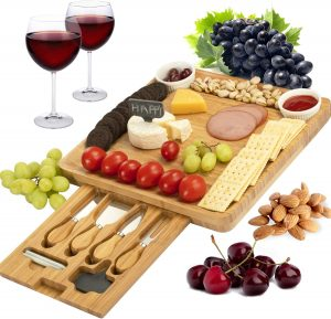 Ctft Cheese Board And Knife Set Bamboo Charcuterie Platter