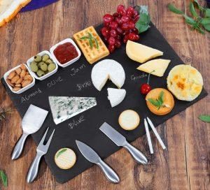 Cuisine Wonders Large Slate Cheese Board And Knife Set
