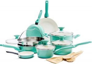 Greenpan Rio Healthy Ceramic Nonstick, Cookware Pots And Pans Set