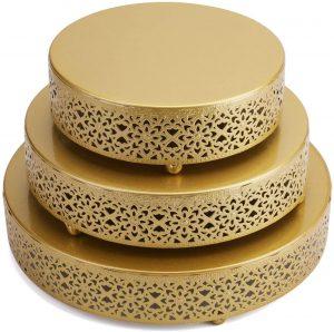 Hedume 3 Piece Round Metal Cake Stands