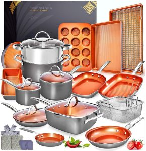 Home Hero 23 Pieces Of Copper Pots And Pans