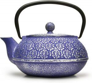 Primal Blue Floral Cast Iron Teapot