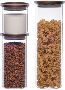 Essos Glass Jars With Wood Lids
