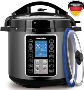 Mueller 10 In 1, Tempered Glass Lid Electric Pressure Cooker