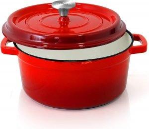 Nutrichef 5 Quart Round Cast Iron Dutch Oven