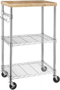 Amazon Basics Kitchen Rolling Microwave Cart On Wheels
