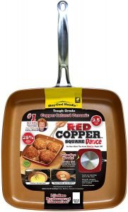 Bulbhead 9.5 Inch Red Copper Square Dance Pan