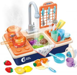 Cute Stone Pretend Play Kitchen Set For Toddlers & Kids