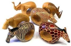 Global Crafts Mahogany Wood Animal Napkin Rings