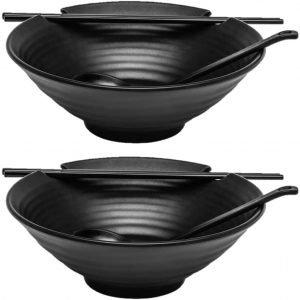 Kimi Cuisine Black Melamine Ramen Bowl