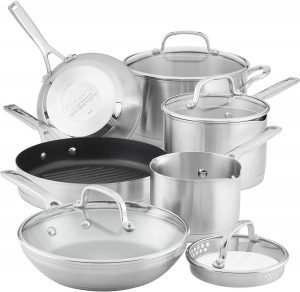 Kitchenaid 3 Ply Base Brushed Stainless Steel Cookware Pots And Pans Set