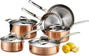 Lagostina Martellata Hammered Copper 18 10 Tri Ply Stainless Steel Cookware Set