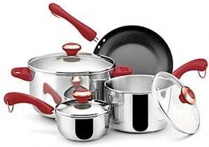 Paula Deen Stainless Steel Red Handle 7 Piece Cookware Set