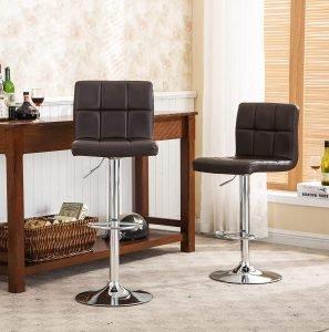 Roundhill Furniture Elegant Pu Leather Hydraulic Barstools