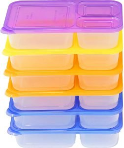 Simple Houseware 3 Compartment Heavy Duty Bento Lunch Boxes