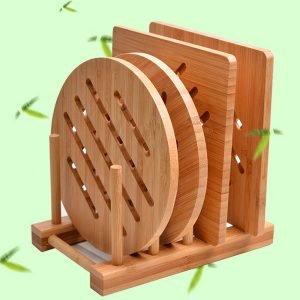 Markup Natural Bamboo Trivet Mat Set