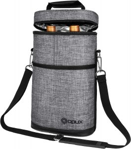 Opux Insulated 2 Bottle Wine Tote Carrier