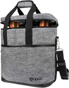 Opux Premium Insulated 6 Bottle Wine Carrier Tote