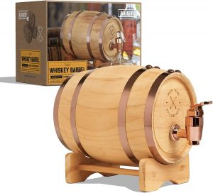 Refinery And Co Wood Whiskey Barrel Dispenser