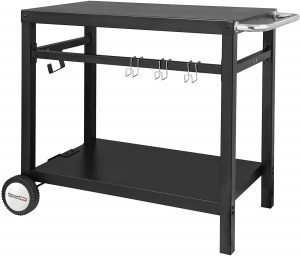 Royal Gourmet Double Shelf Movable Dining Cart Table