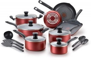 T Fal Red Initiatives 18 Piece Cookware Set