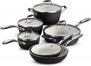 Tramontina 10 Piece Aluminum Gourmet Ceramica Deluxe Black Cookware Set