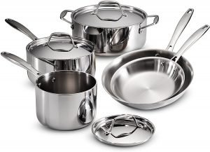 Tramontina 8 Piece Gourmet Stainless Steel Tri Ply Clad Set Cookware Set