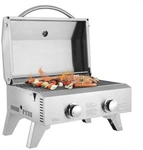 Tabletop Gas Grill 2 Burner Stainless Steel Gas Grill