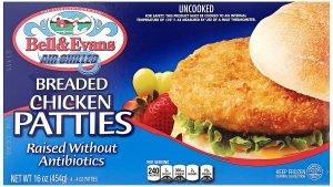 Bell & Evans Frozen Breaded Chicken Patties