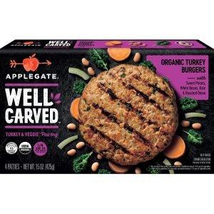 Applegate Well Carved Organic Turkey & Vegetable Burgers